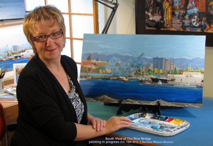 Barbara Weaver-Bosson 2012 with her painting in progress Looking South to the Johnson Street Bridge, Victoria B.C.