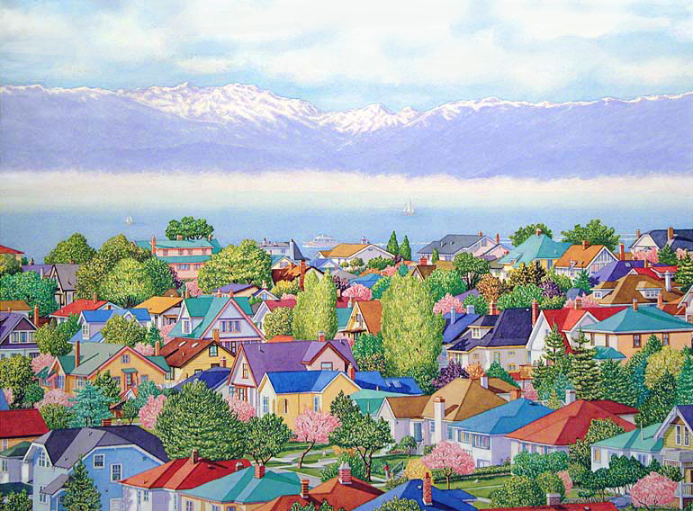 Fairfield-Rooftops, Victoria Watercolour painting by Barbara Weaver-Bosson