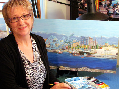 "Barbara Weaver-Bosson with her in ""progress painting"", titled Looking South to the Blue Bridge, Oct 15th 2012."