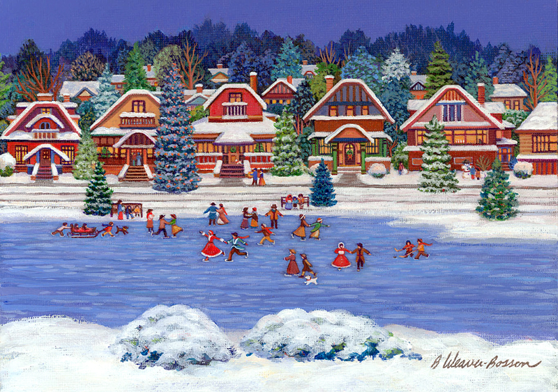 NEIGHBOURHOOD SKATING PARTY painting by Barbara Weaver-Bosson 2010